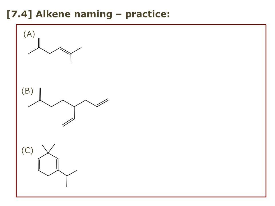 [7.4] Alkene naming – practice:
